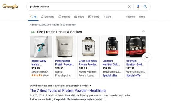 "Search engine marketing describes advertising on search engines and ad networks. This example, from a Google search-results page, is for ""protein powder"" ads."