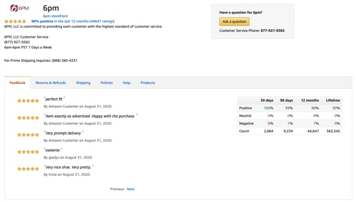 6pm's feedback page on Amazon.