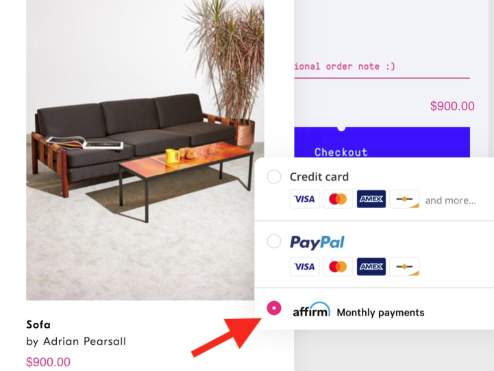 Ecommerce merchants typically display a BNPL payment button alongside the usual credit-card and PayPal logos