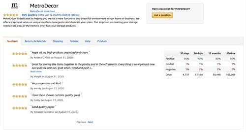 MetroDecor's feedback page on Amazon.