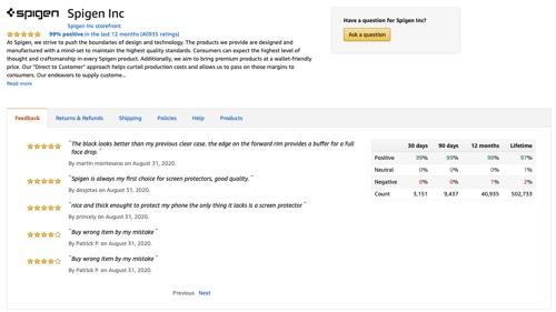 Spigen's feedback page on Amazon.