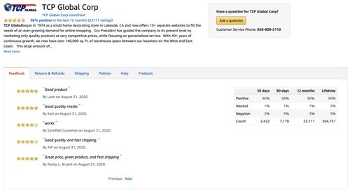 TCP Global Corp's feedback page on Amazon.