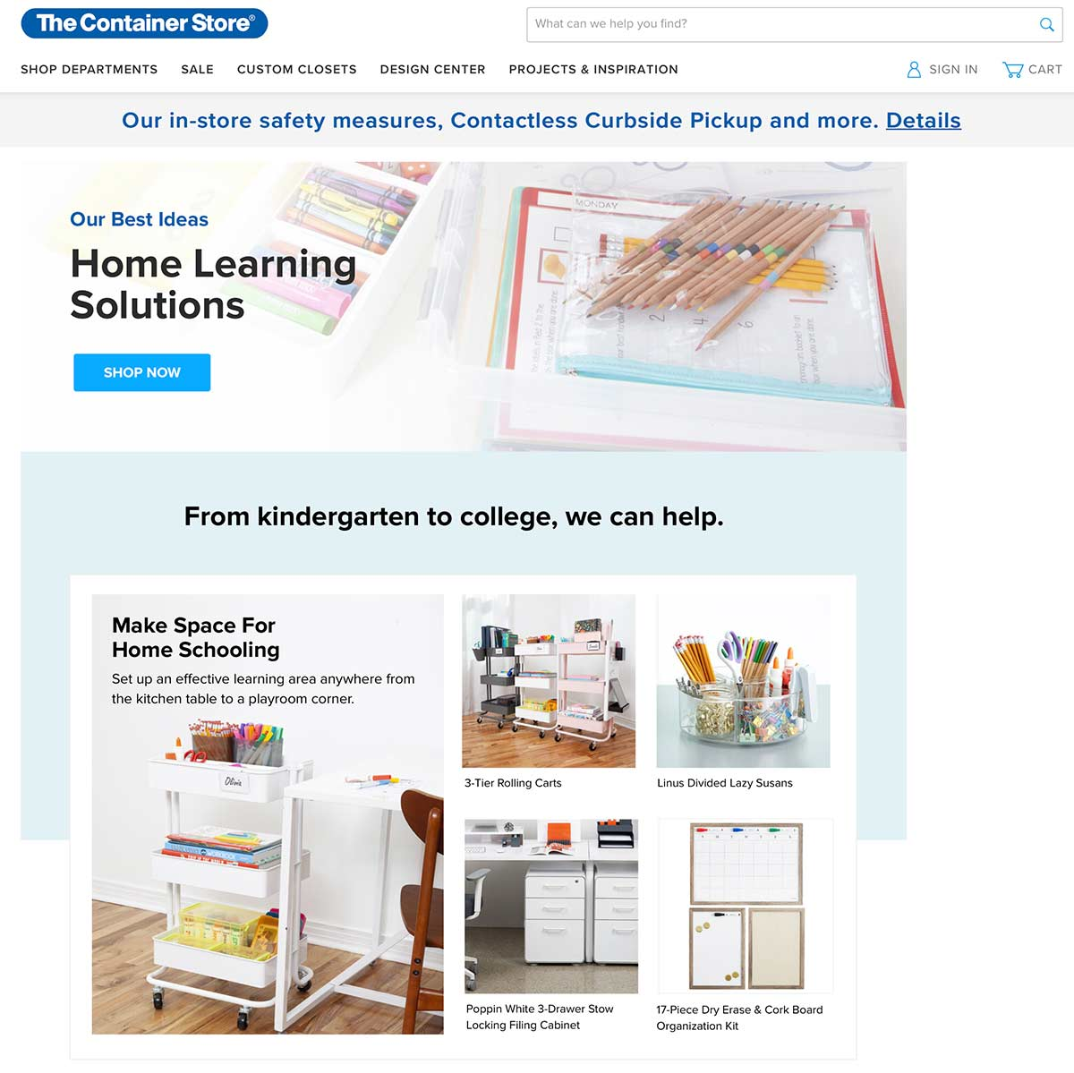 The Container Store landing page for home schooling