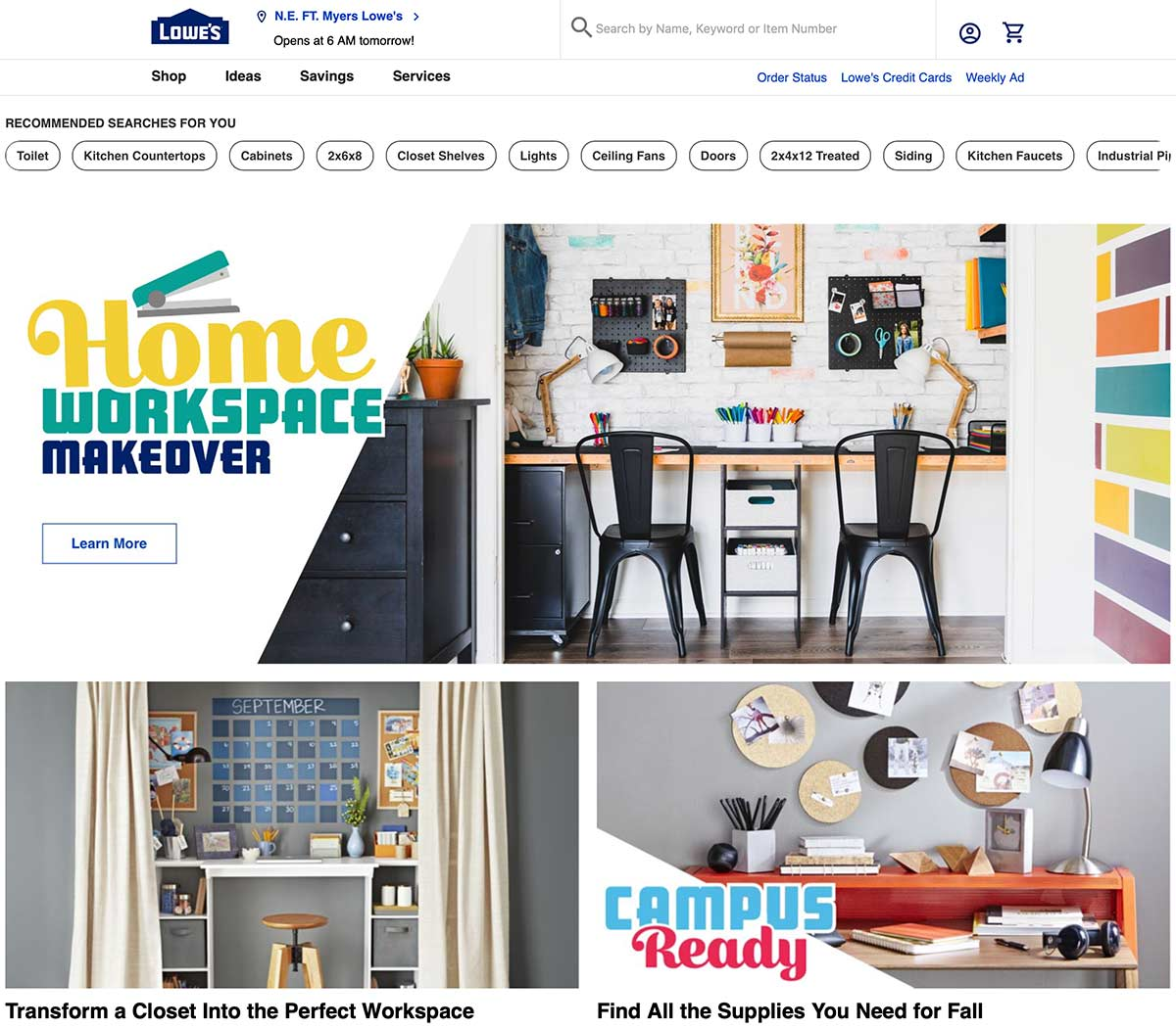Lowe's home page featuring home office space