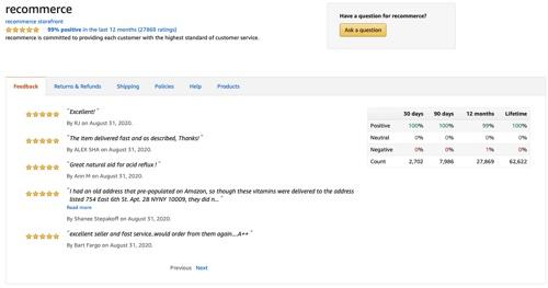 Recommerce's feedback page on Amazon.