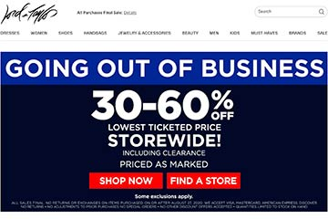 Screenshot of Lord & Taylor closeout sale