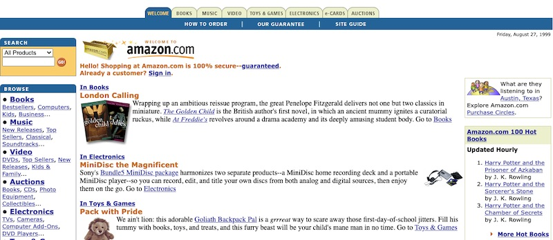 Platforms such as Ebay, Amazon, and Etsy have steadily grew in popularity. This screenshot of Amazon's home page is from August 1999. The site sold mostly books then. Source: Wayback Machine.