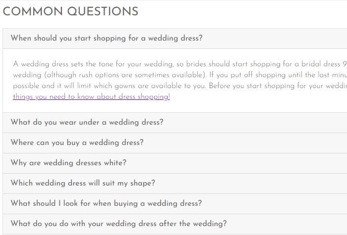 "FAQ drop-downs mirror the content in this retailer's shopping page, which contained a ""Common Questions"" section, as shown here."