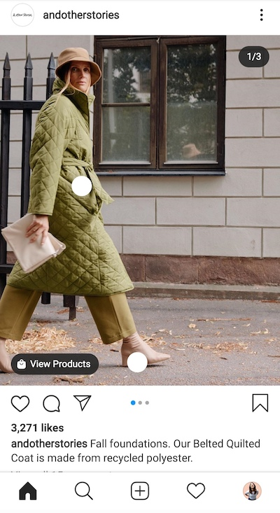 """This shoppable carousel ad from & Other Stories includes a seasonal connection (""""Fall foundations"""") and a short product description (""""...made from recycled polyester..."""")."""