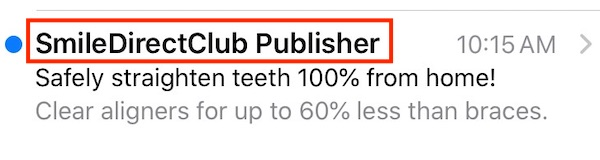 "An email ""from"" line must clearly relate to the sender's company or brand, such as this example from SmileDirectClub, a teledentistry company."