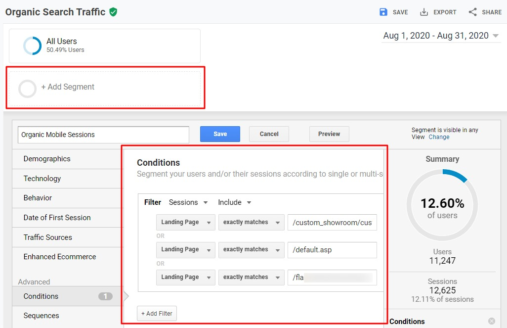 A segment can compare a set of pages optimized for organic search against the performance of the site overall.