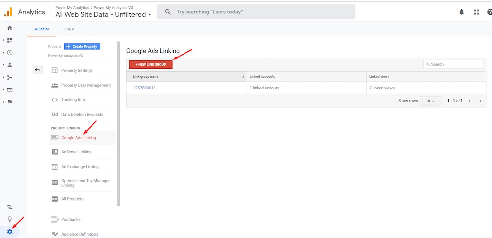 In Google Analytics, select the Google Ads account to link to at Admin > Property > Google Ads Linking.