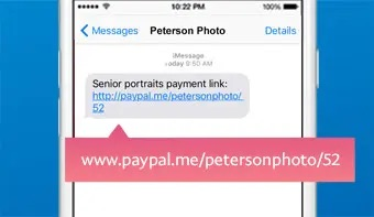 "Service providers can use P2P apps to generate a ""pay me"" link and send it to a customer via text message, email, or social media,. This example is from PayPal."