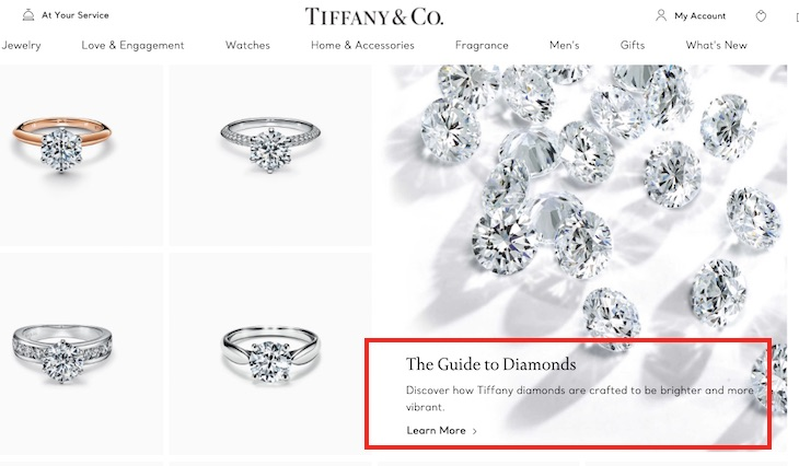 "The Tiffany & Co. ""Engagement Rings"" category page includes a feature promoting ""The Guide to Diamonds."" The feature's description accomplishes a marketing objective along with optimizing for search engines."