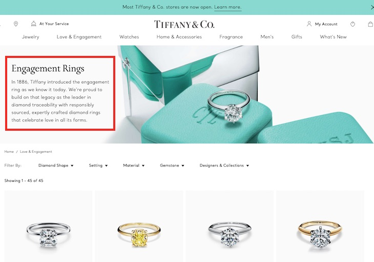 Tiffany & Co. places well-spaced text on its engagement rings category page.