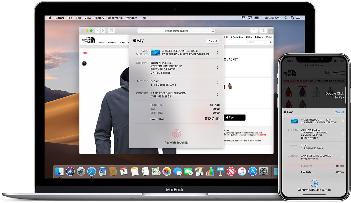 MacBook laptop on iPhone working via Apple Pay on an online store