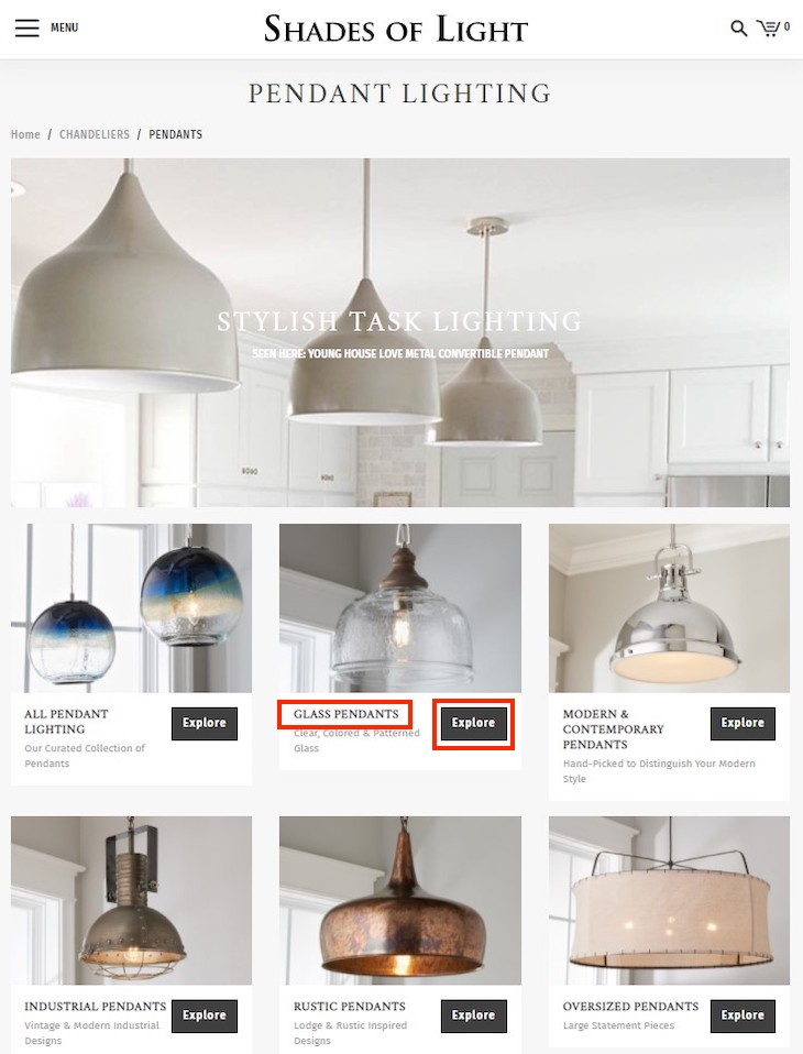"Shades of Light links from the ""Pendant Lighting"" category page to each subcategory using the word ""Explore,"" which is meaningless to search engines. Importantly, however, the subcategory name, such as ""Glass Pendants."""