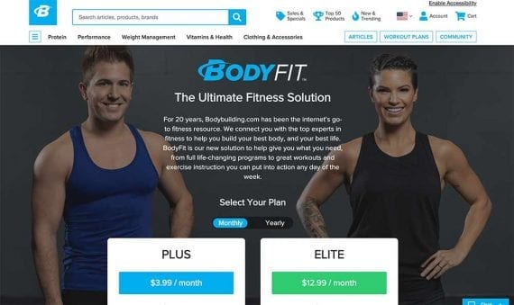 Screenshot of BodyFit web page.