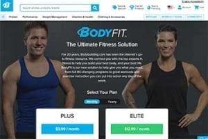 Screenshot of BodyFit web page