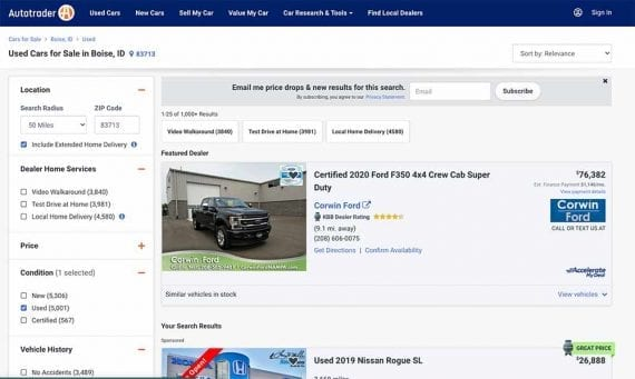 Screenshot of Autotrader web page