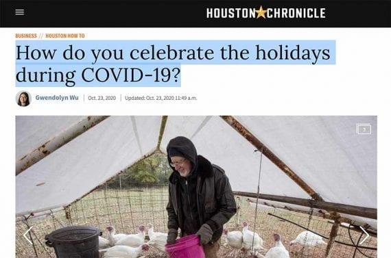 Screenshot of a man feeding turkeys