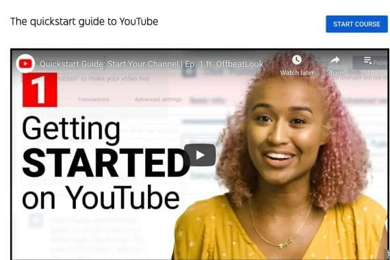 Screenshot of YouTube page on starting a channel