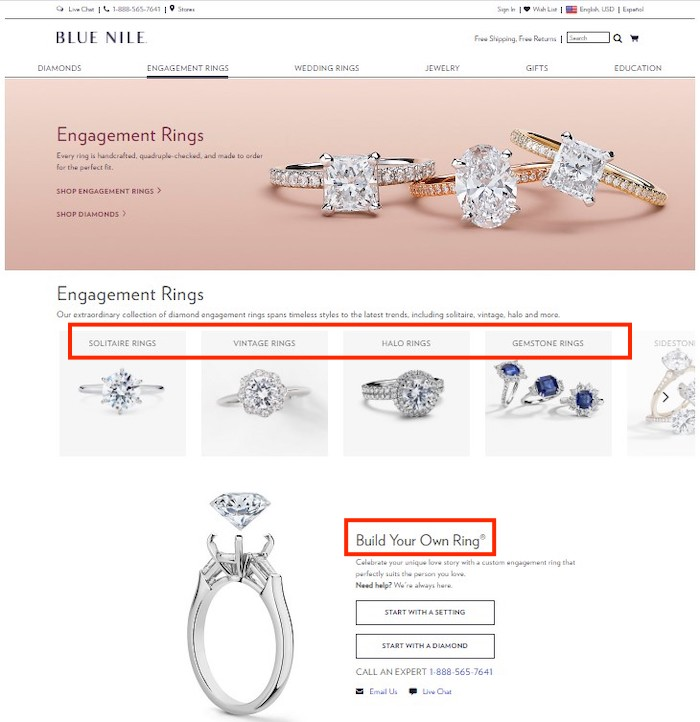 Screenshot of Blue Nile's engagement ring page