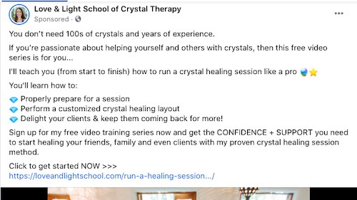 Screenshot of crystal therapy ad on Facebook