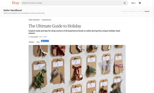 "Screenshot of Etsy's ""Ultimate Guide to Holiday"" page"