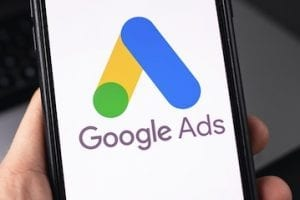 Image of Google Ads logo on an iPhone