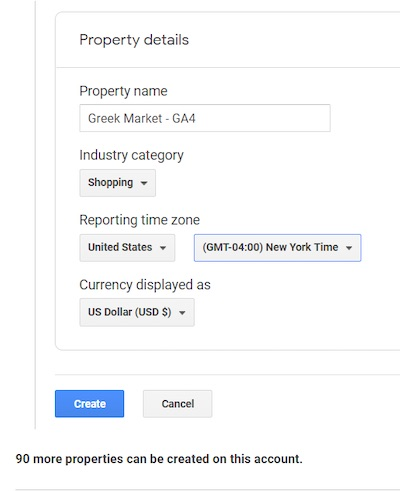 Screenshot of Google Analytics 4 set up page: name the property