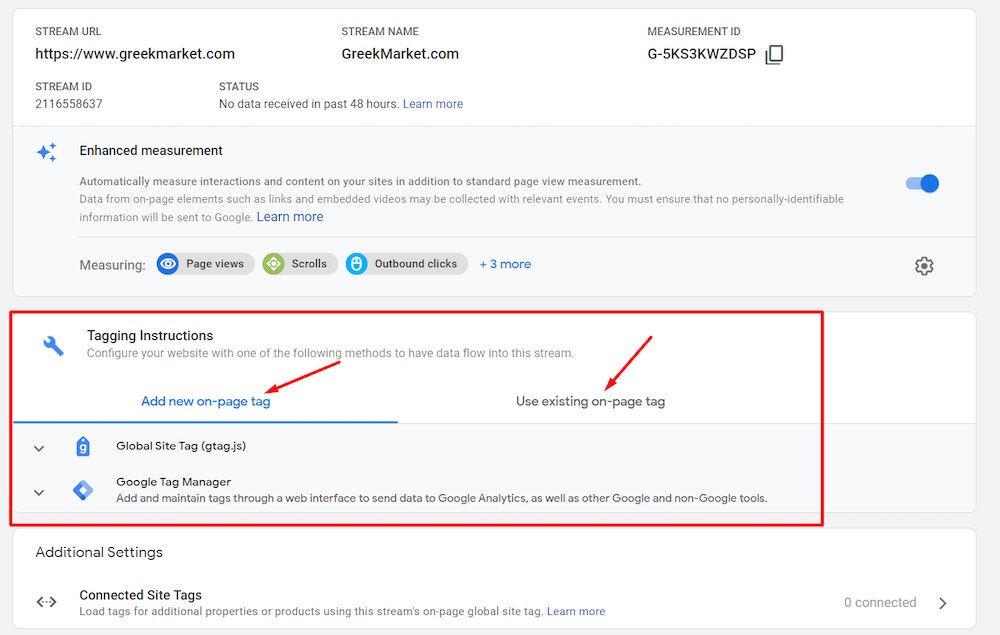 Screenshot of Google Analytics 4: assigning a tag