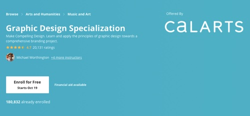 "Screenshot of ""graphic design specialization"" web page"