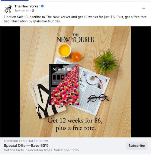 Screenshot of a New Yorker ad on Facebook.
