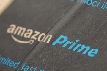 Photo of a Amazon Prime label on a shipping box