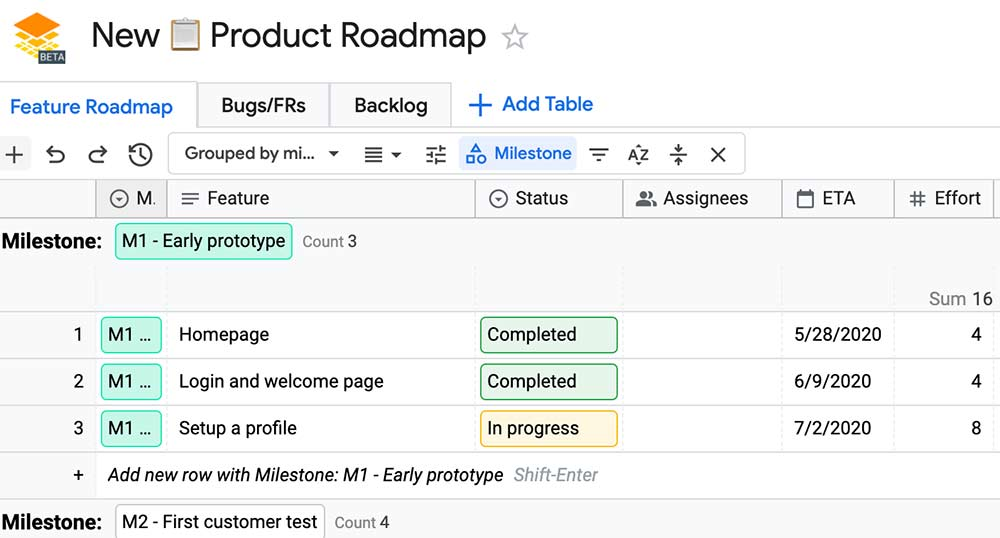 Sample Google Tables Workspace template