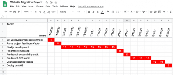 Screenshot of an Excel spreadsheet