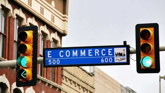 """Photo of a street sign called """"E Commerce."""""""