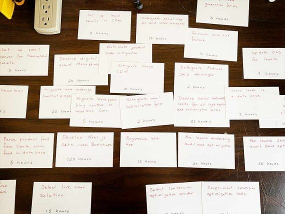 Photo of notecard arranged on a desk.