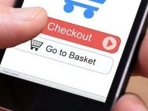 Photo of an ecommerce cart on a smartphone