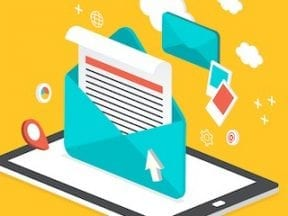 Illustration of an mail envelope on a computer