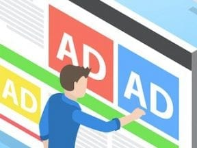 Graphic of ads on a computer screen