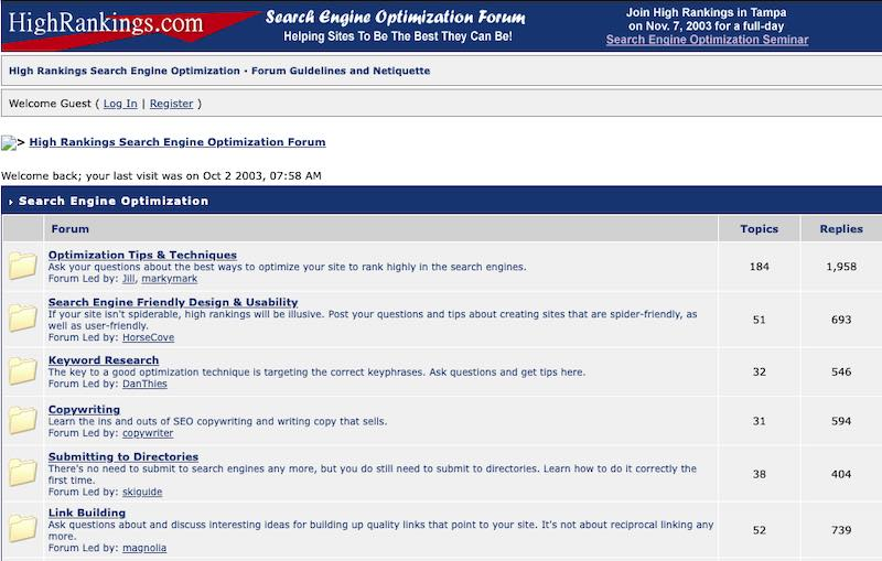 Screenshot of the home page for HighRankings.com's forum, from 2003