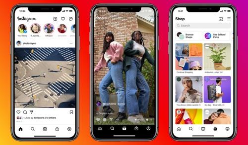 Screenshot of Reels and Shop tabs on Instagram
