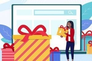 Illustration of a shopper with Christmas packages