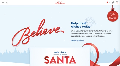 Web page describing Macy's Believe