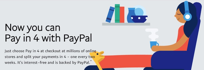 Screenshot of PayPal's Pay in 4