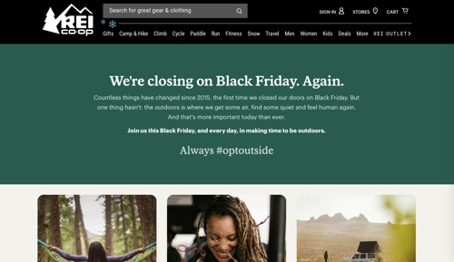 Screenshot of REI's #OptOutside web page