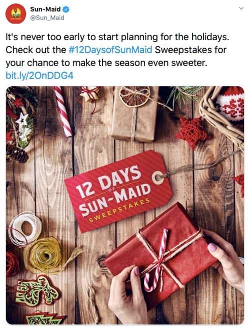 Web page describing Sun-Maid's 12 Days of Sun-Maid Sweepstakes