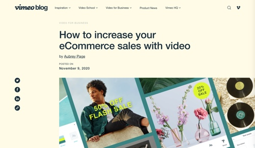 Screenshot of Vimeo blog page.